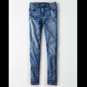 High-waisted embroidered star jegging